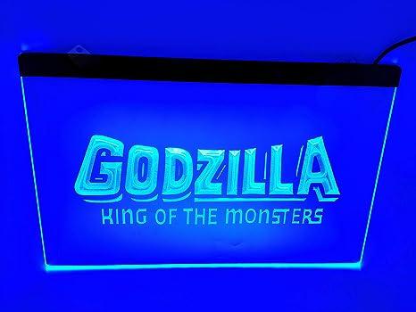 Amazon.com: Blue Godzilla King Bar Pub - Cartel con luz LED ...