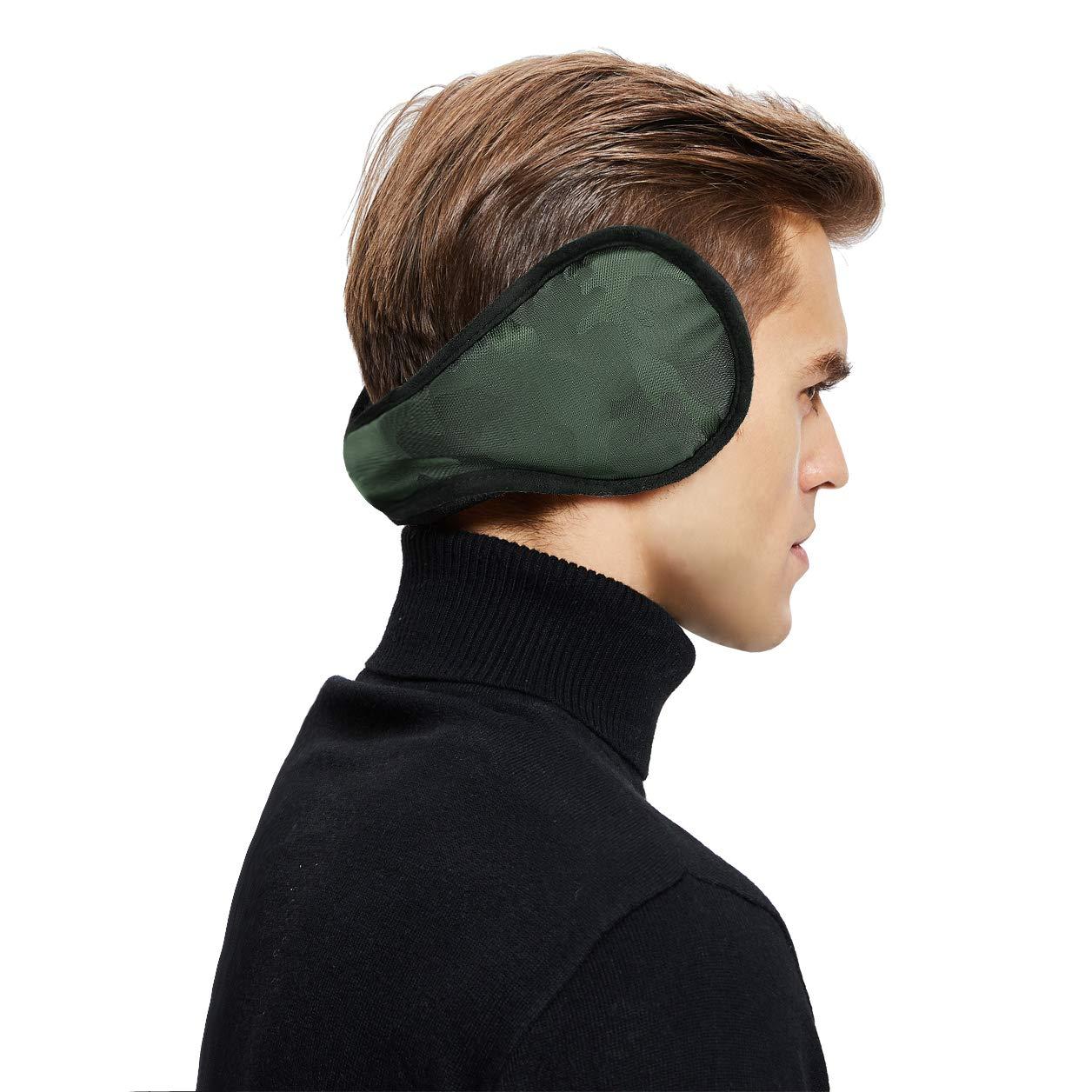Sheepskin Wool Snug Earmuffs Ear Warmer - Camouflage Celadon Nylon Earwarmer
