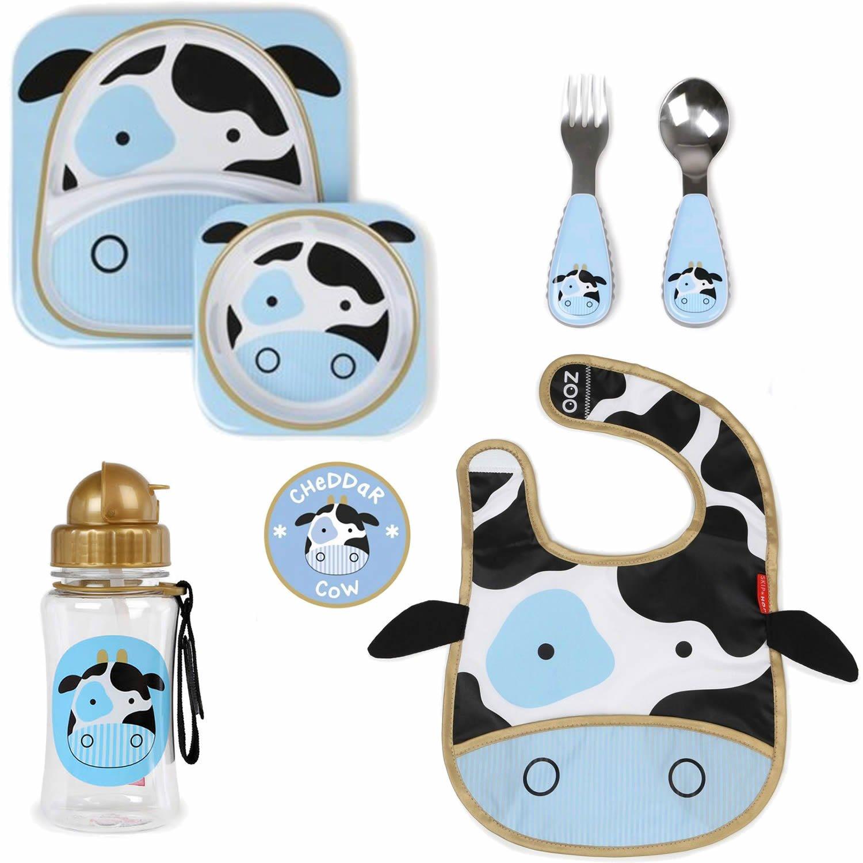 Pack Vajilla, Cubiertos, Babero y Botella vaca cheddar aprendiendo a comer solito