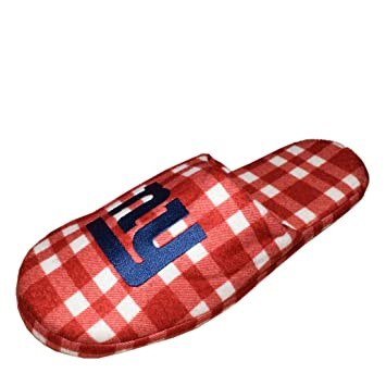 Mens Lounge Slippers with Embroidered Logo - NE GIANTS S/7-8 Multicolor