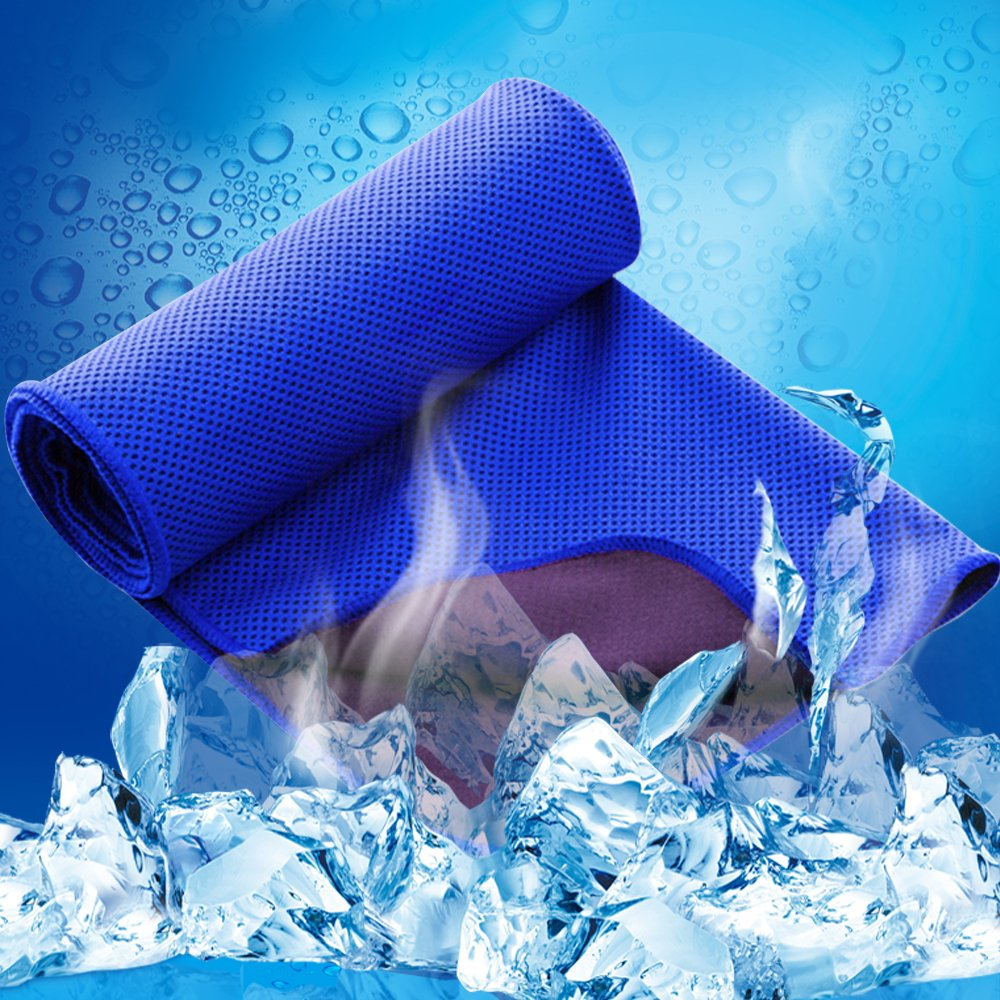 LESVIEO Evaporative Cooling Towels, Instantly Cold Soft Ice Towels for Sports, Fitness, Yoga, Pilates, Travel, Camping, Sapphire.