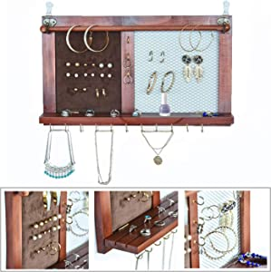 Kullavik Wall Mounted Jewelry Organizer Armoires Home Decor Display Shlef Storage for Necklaces,Bracelets,Ring Holder,Earings Wire Mesh,Velvet Earring Display,Incl.Hooks for Hanging Jewelries