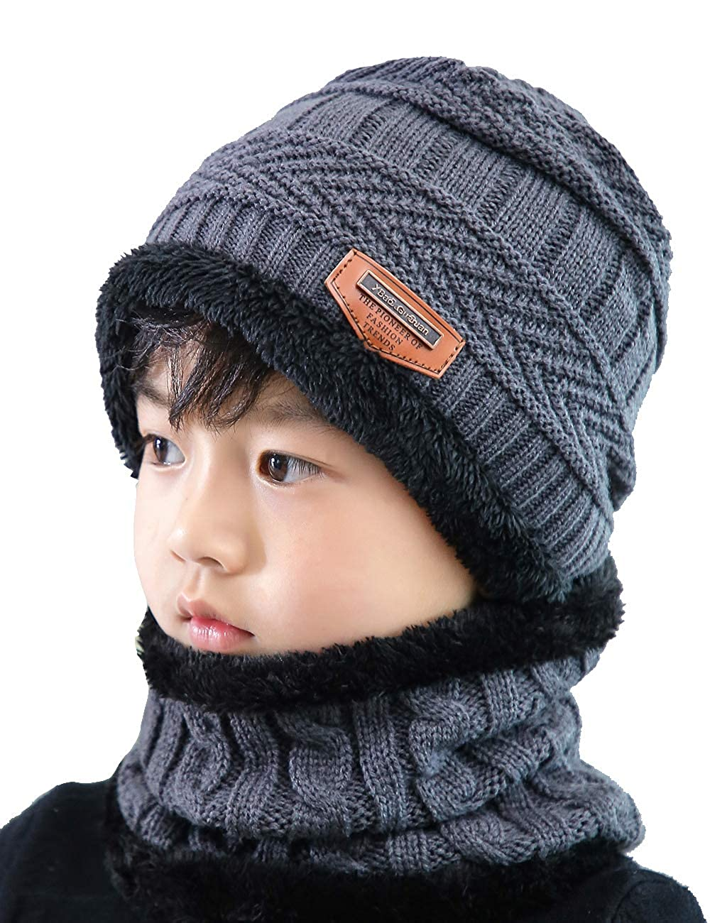 629bd0928156d Amazon.com  ANJUREN Hat Beanie Scarf Set 2pcs Child Kids Boys Girls Winter  Snow Knit Skull Cap Circle Scarves (one Size