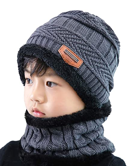11970e7f20d56a ANJUREN Hat Beanie Scarf Set 2pcs Child Kids Boys Girls Winter Snow Knit  Skull Cap Circle