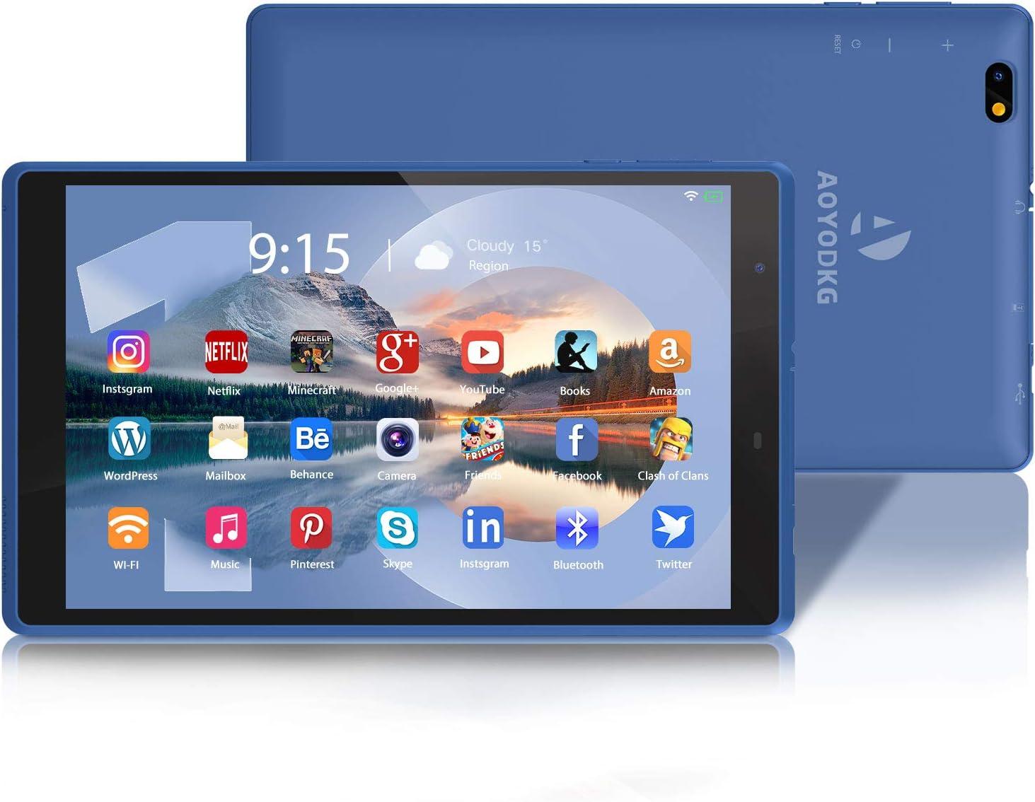 AOYODKG H8 Tablet 8 Pulgadas Android 10.0 Bluetooth + WiFi 3GB RAM 32GB ROM HD 1280 * 800 Quad Core-Azul