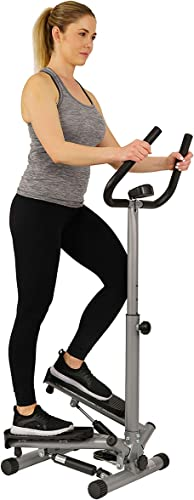 Sunny Health Fitness Twist Stepper Step Machine w Handle Bar and LCD Monitor