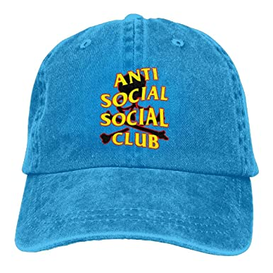 f17566e56df Image Unavailable. Image not available for. Color  LOS QAQ Anti Social  Social Club Unisex Classic Breathable Denim Adjustable Baseball Cap ...