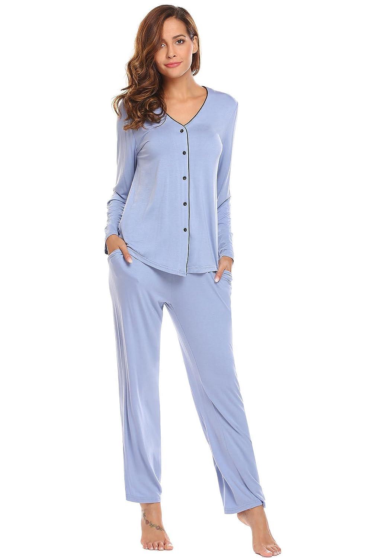 ADOME Damen Schlafanzug V-Ausschnitt lang Baumwolle herbst Winter Pyjama set Jersey Nachtwäsche warm sleepwear leicht Atmungsaktiv
