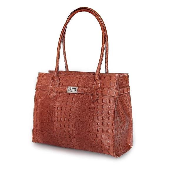 61e0fff323546 MIO Damen echt Leder Tasche Handtasche Tragetasche Henkeltasche zauberhaft  elegante Midi Kelly Stil Frauen Handtaschen Taschen Kroko cognac