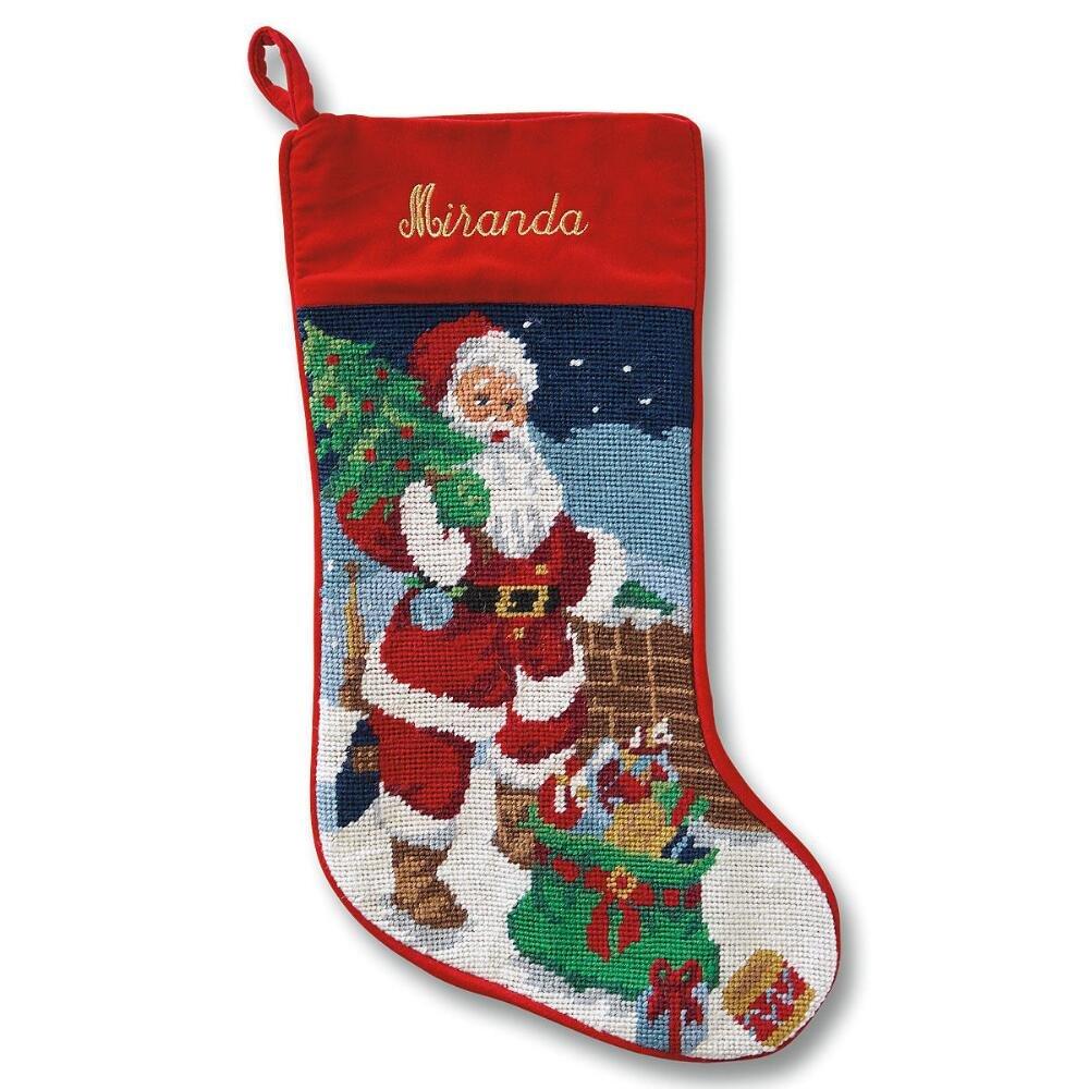 Lillian Vernon Santa Heirloom Personalized Needlepoint Christmas Stocking 800138