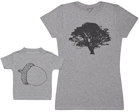 Zarlivia Clothing Acorn and Tree - Matching Mother Baby Gift Set - Womens T  Shirt   Baby T Shirt  Amazon.co.uk  Clothing 3a3af08462