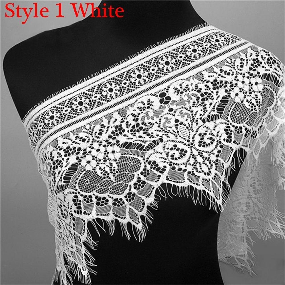 Aiweikang 3 Yards Fashion Black&White Decoration Floral Sewing Dress Making Eyelash Lace Trim
