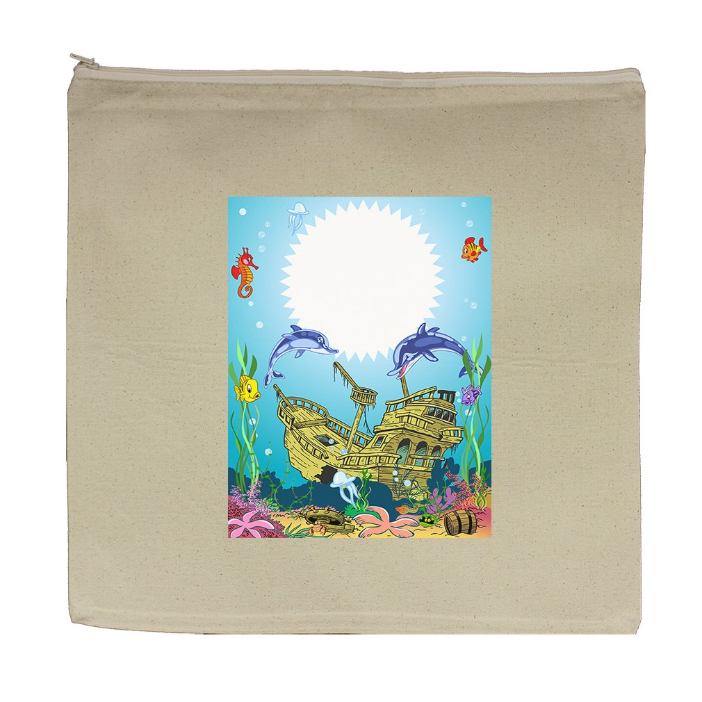 Canvas Zipper Pouch Tote Bag 5.5''X7.5'' Funny Sea Animal Underwater Sea Life