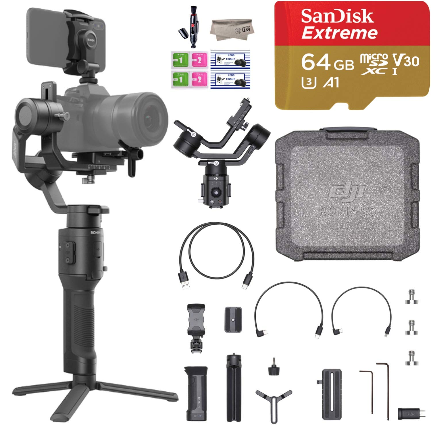 2019 DJI Ronin-SC 3-Axis Gimbal Stabilizer for Mirrorless Cameras, Comes 64GB Micro SD, Tripod, Phone Holder, Carrying Case and Cleaning Kit, Up to 4.4lb Payload, 1 Year Limited Warranty by DJI