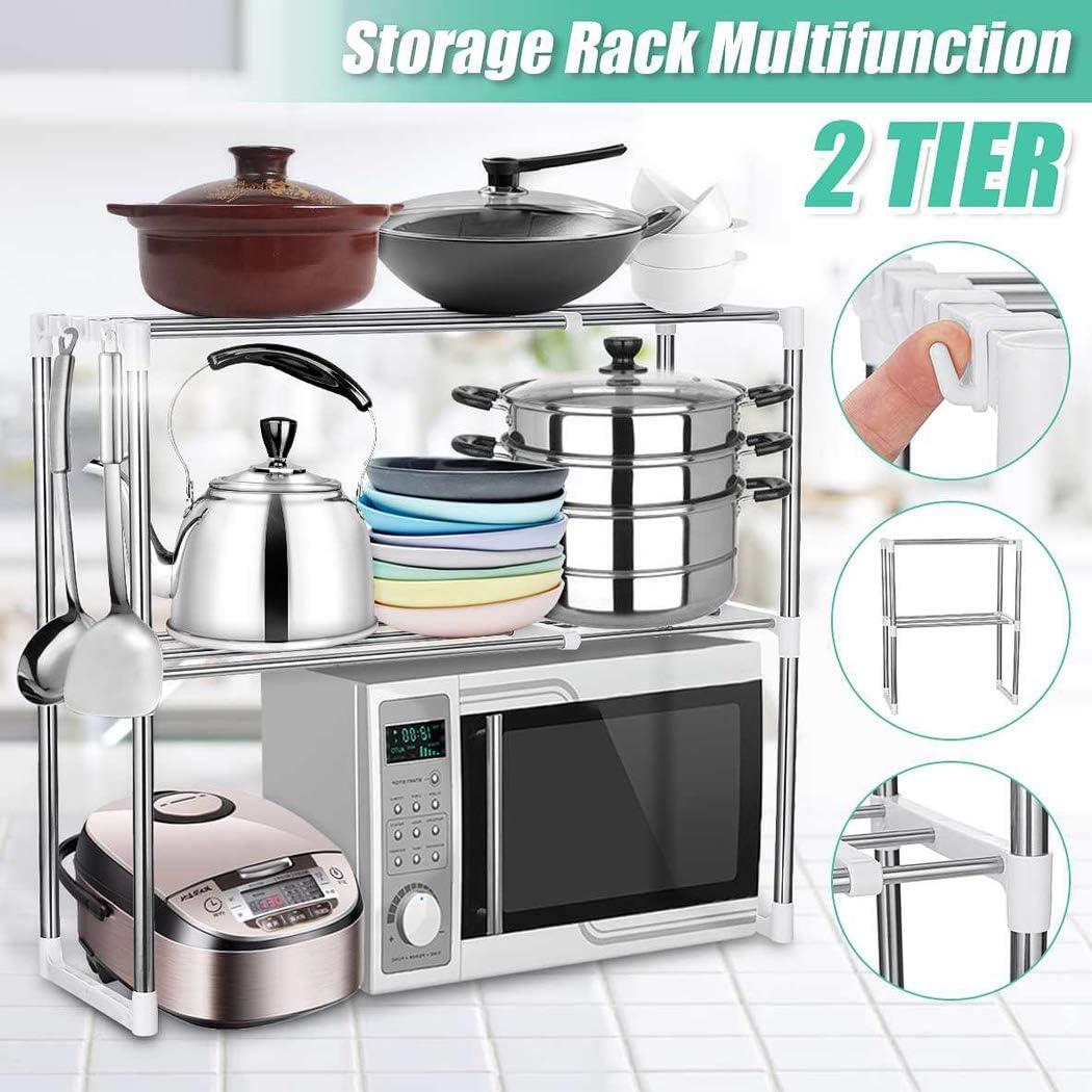 Estante de almacenamiento de 2 niveles para microondas utensilios de cocina organizador de acero inoxidable