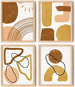 Abstract Wall Art Print Set of 4 Mid Century Modern Abstract Art Wall Decor 8x10 Inches Geometric Shape Minimalist Wall Art Abstract Prints for Wall Decor - Unframed
