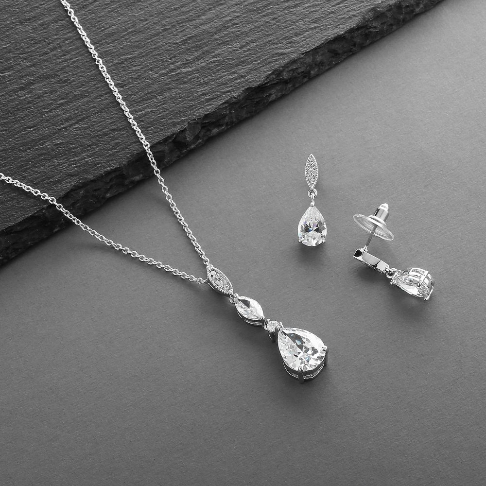 Mariell Platinum Plated Pear-Shaped CZ Bridal, Bridesmaids or Prom Necklace and Earring Set by Mariell (Image #5)