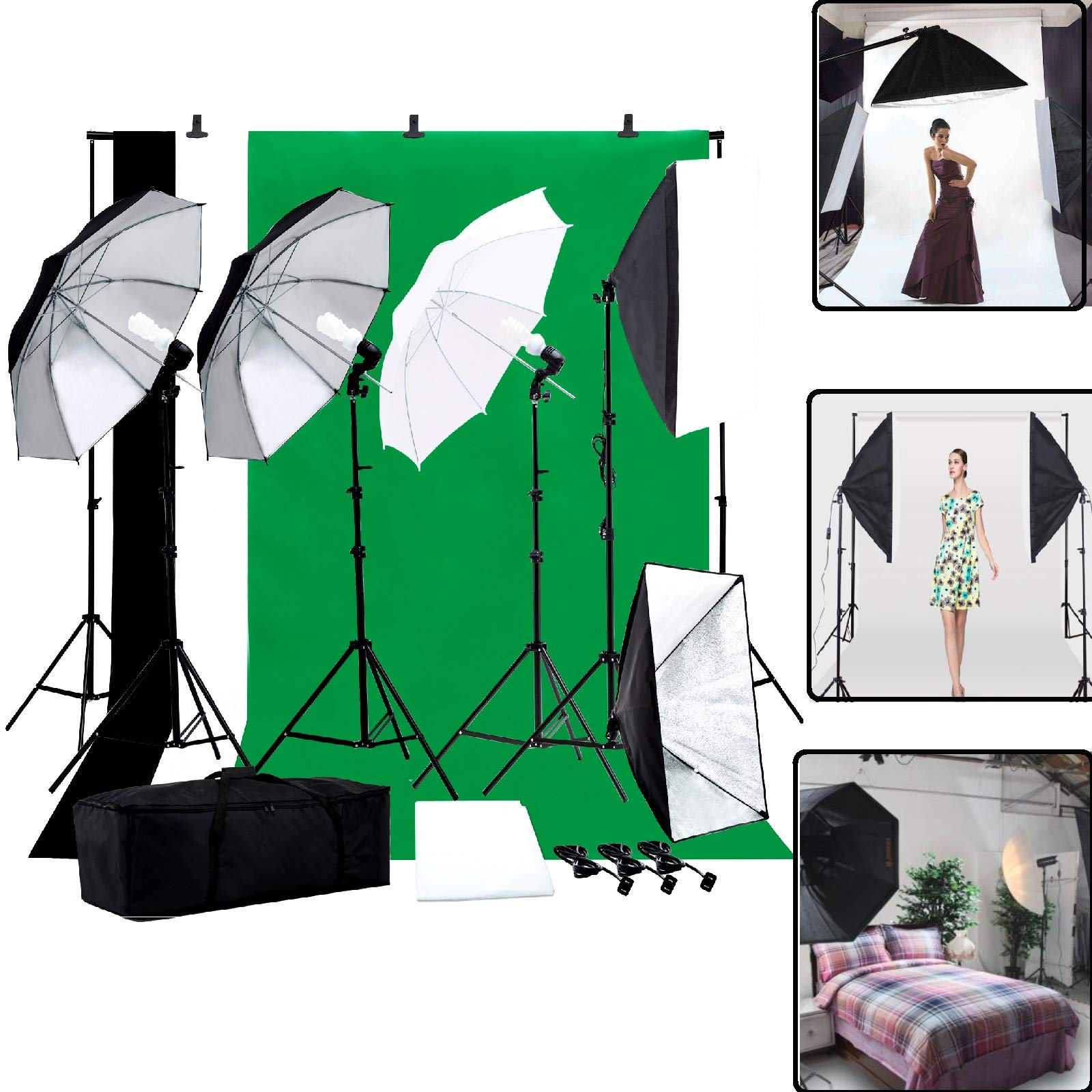 Photo Studio Photography Kit -Nurxiovo 6.6ft x 10ft Photography Lighting Studio Set Soft Umbrella Soft Boxes Studio Light Adjustable Support System Green Screen Backdrop Stand with Portable Carry Bag by Nurxiovo