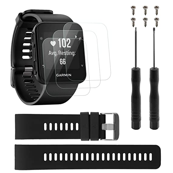 Rukoy Strap Band Replacement for Garmin Forerunner 35 with 3-Pack Tempered Glass Screen Protectors, Protective Screen Films and Silicone Wristband ...