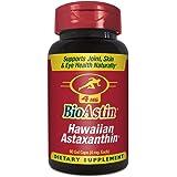 BioAstin Hawaiian Astaxanthin 4mg, 60 Count - Hawaiian Grown Premium Antioxidant - Supports Recovery from Exercise + Joint, Skin, Eye Health Naturally