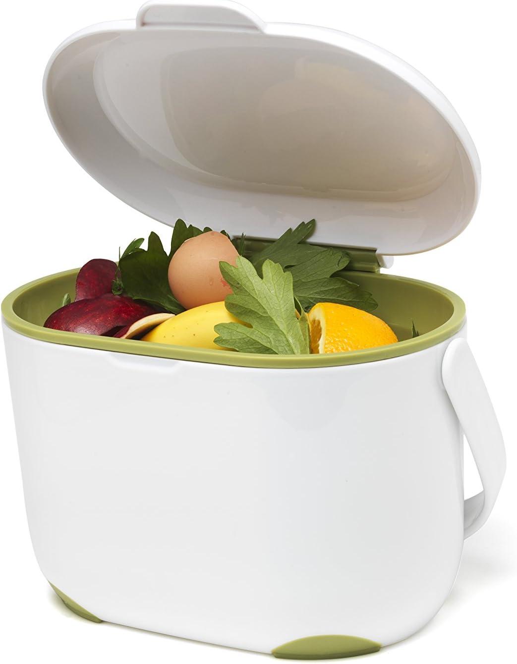 2,5 L 2.5L White//Grey Addis Compost Bin for the Kitchen White//Green