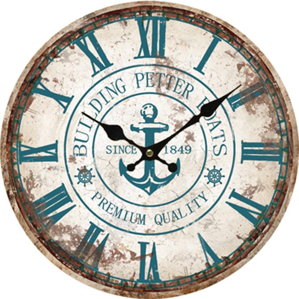 Rustic wall clock vintage roman large numeral wooden anchor vintage roman large clock numeral wooden anchor wall rustic kitchen home antique amipublicfo Images