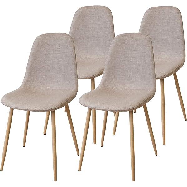 Albatros FANO Set de 4 Retro sillas de Comedor Blanco, SGS Probado ...