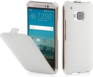 StilGut® SlimCase, Housse, Coque, étui pour HTC One M9, Blanc Vintage