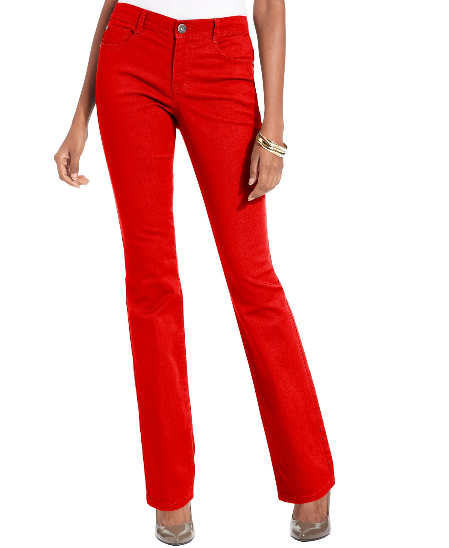 Style & Co. Womens Slim Fit Tummy-Control Slim Leg Jeans Red 16