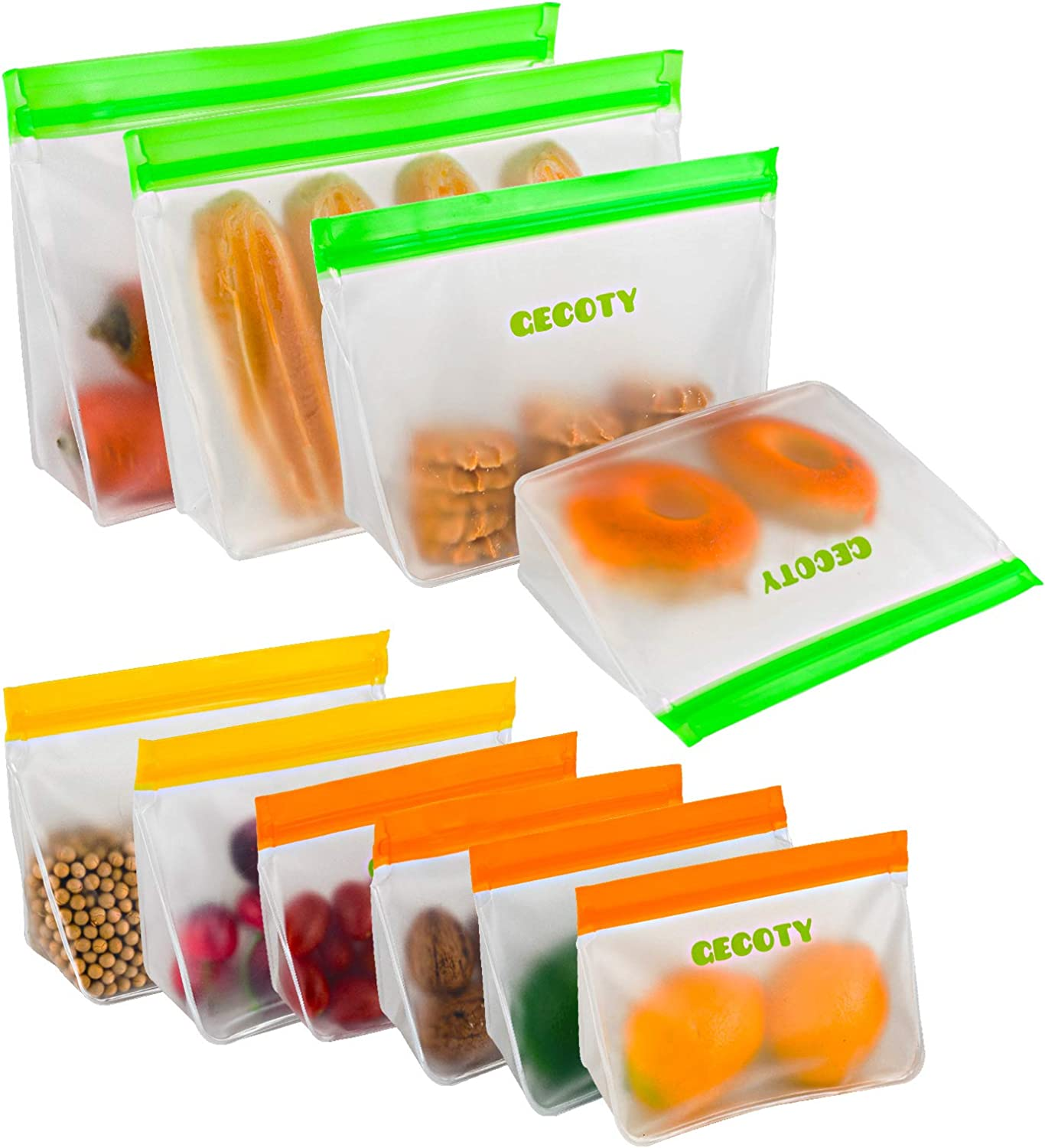 Reusable Storage Bags,GECOTY Upgraded [10-Pack] Reusable Food Bags BPA-free,Ziplock Bag Eco-Friendly,Leak-proof Freezer Bags Sandwich Bags-Stand up Large/Medium/Small for Refrigerator Storage