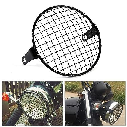 Parrilla estilo malla de metal para faros delanteros como protector para motocicleta de color negro, 16 cm