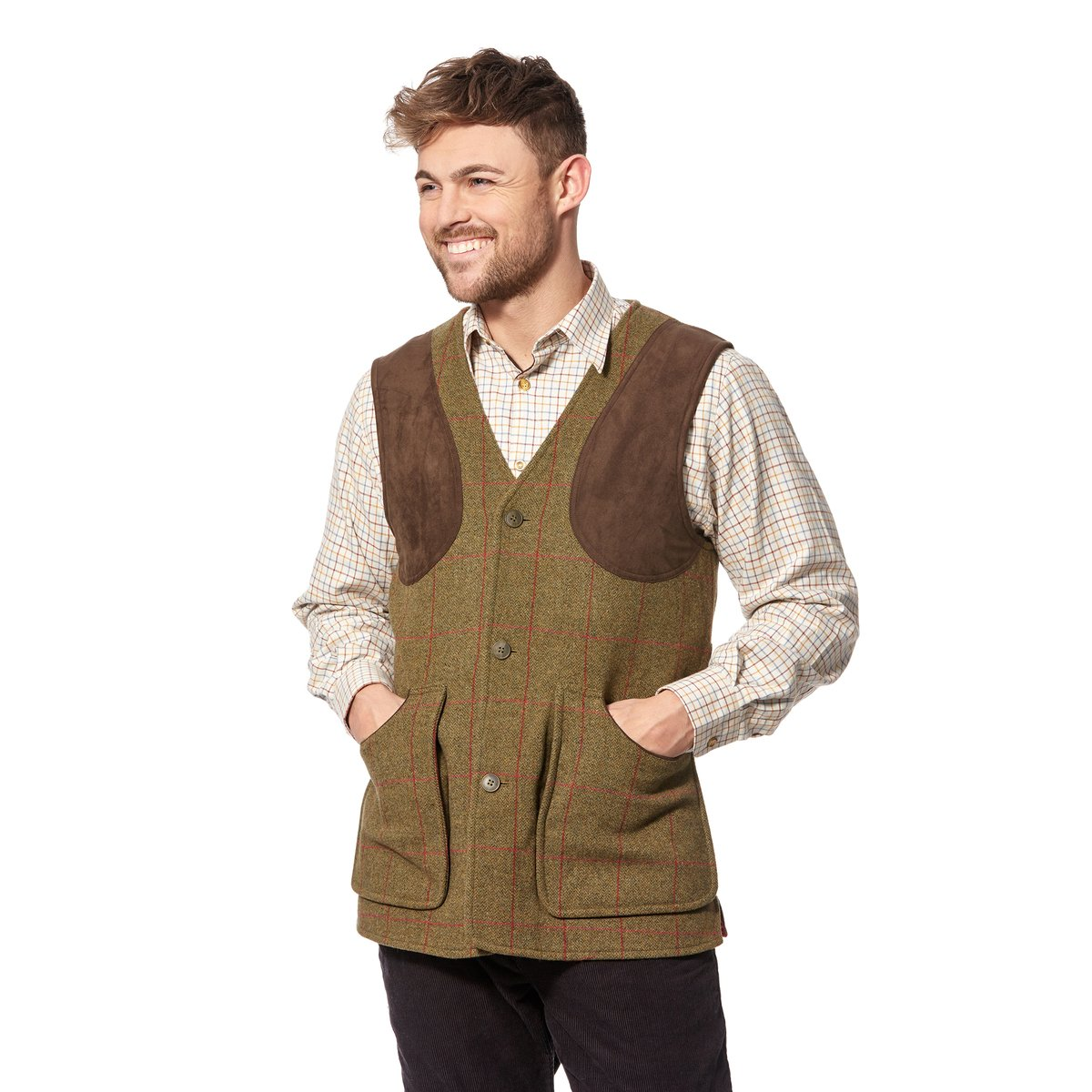 Alan Paine Gents Combrook Wool Tweed Waistcoat Sage