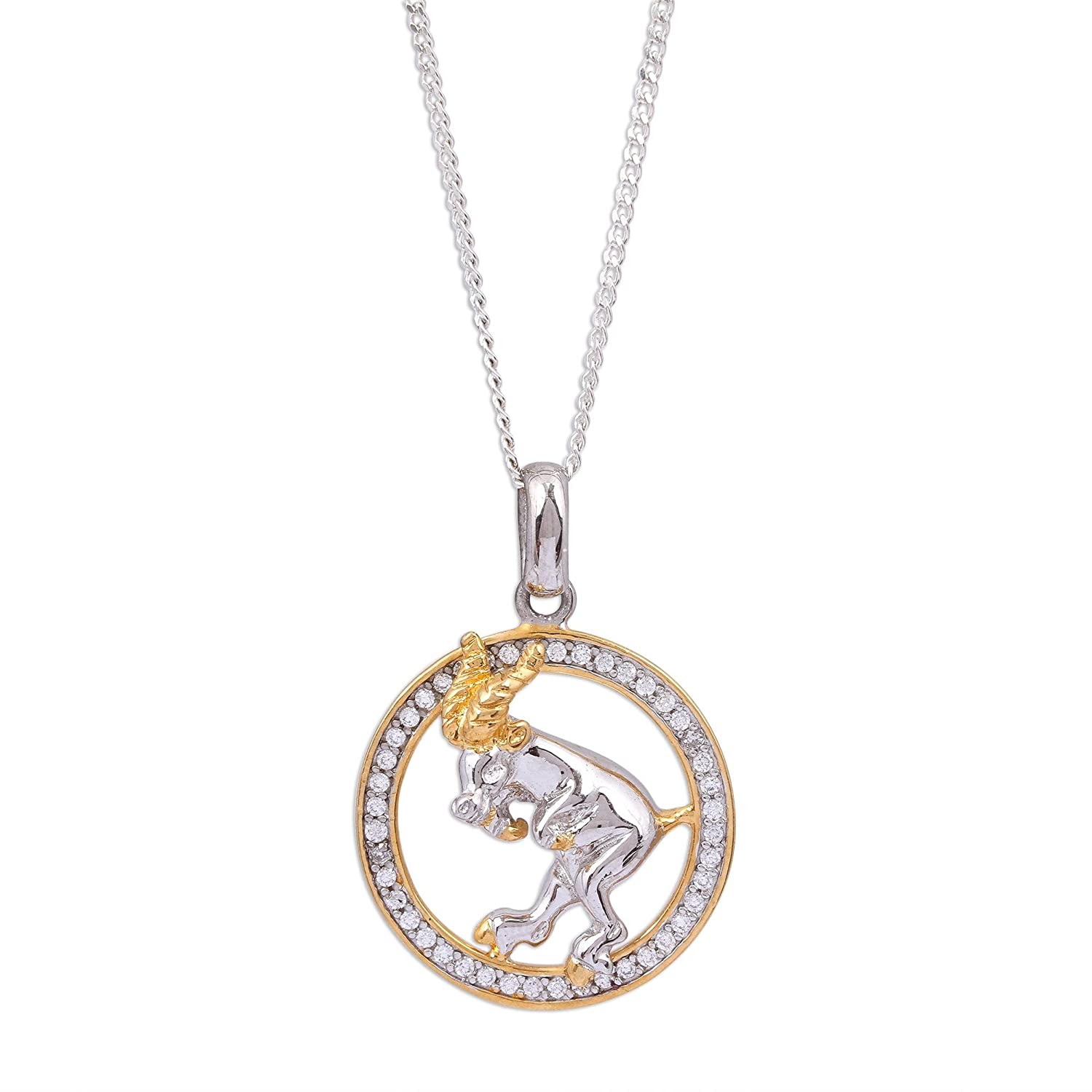 17.75 Celestial Ram NOVICA Cubic Zirconia 22k Gold Plated .925 Sterling Silver Pendant Necklace