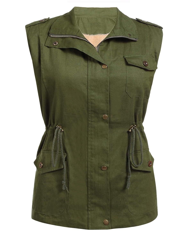 Drawstring Zip Plus Size Lady Women Sleeveless Up Military Zeagoo HIxz0Bqwq