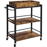 VASAGLE Bar Cart, Kitchen Serving Cart, Utility Cart with Wheels and Handle, Universal Casters with Brakes, Leveling Feet, Ru