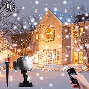 Christmas Lights Projector Outdoor, ALOVECO Snowfall Lights Projector IP65 Waterproof with RF Remote for Chritsmas Xmas Holiday