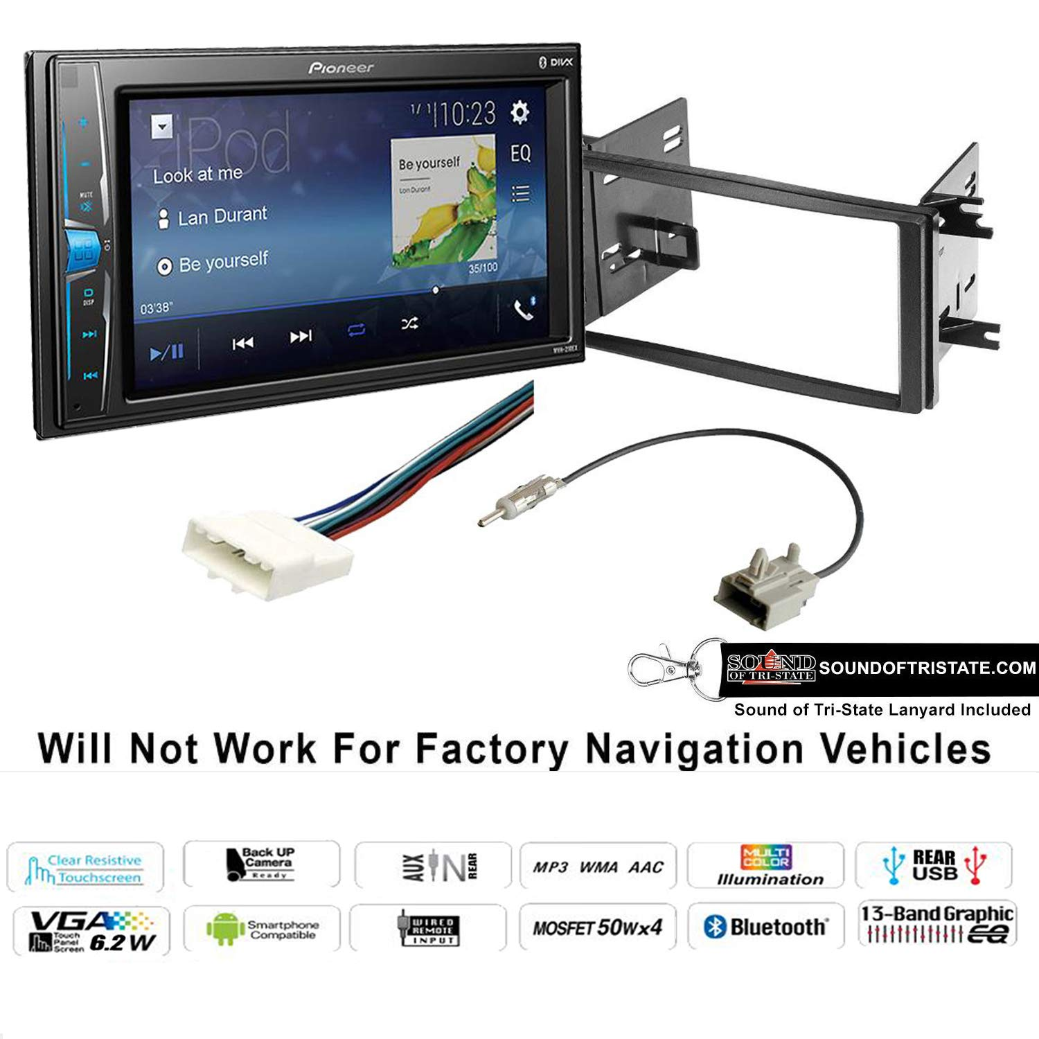 Pioneer MVH-210EX 6.2'' Double Din Digital Multimedia Receiver with Installation Kit fits 09-13 Subaru Forester, 08-14 Subaru Impreza with Sound of Tri-State Lanyard Bundle