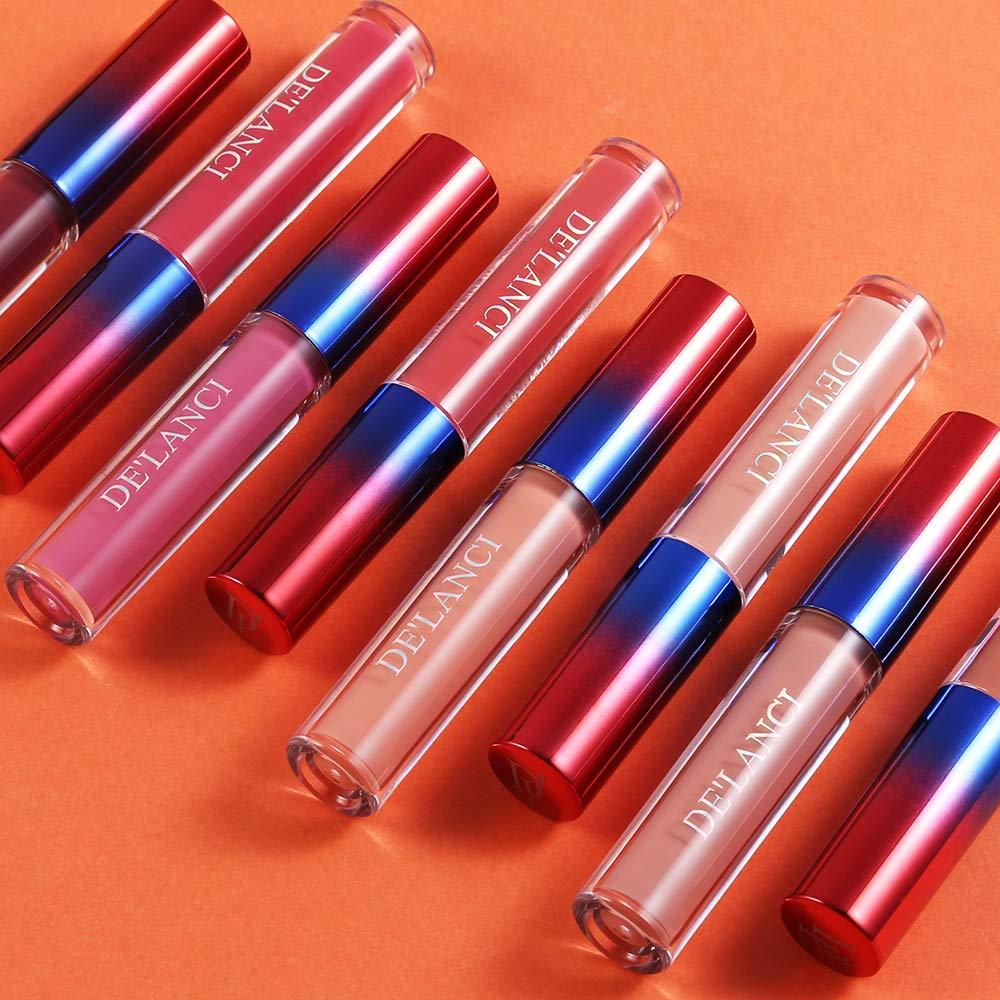 Matte Nude Lipstick Set - DE\'LANCI 8 Color Long Lasting Waterproof Non-Stick Lip Glosses with Gift Box