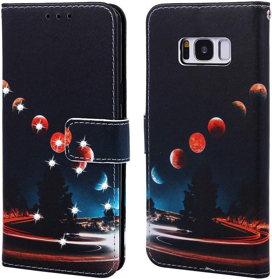 Huphant Compatible for Handyh/ülle Samsung Galaxy S8 H/ülle Leder Glitzer Strass Brieftasche Klapph/ülle Kartenf/ächer Schmetterling Gemalt Flip Case for Samsung Galaxy S8 SchutzH/ülle Die erde
