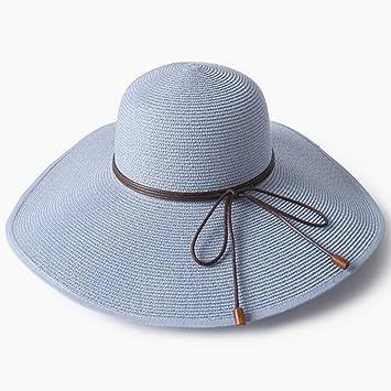 9c7eb0d1bfa54 YXINY Viseras De Las Mujeres Tapas De ala Ancha Playa Vacaciones Proteccion  Solar Plegable Sombrero De Copa (Color   Azul)  Amazon.es  Jardín