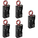 HALJIA 5PCS Plastic Battery Storage Case Box Holder For 2 X AA 2xAA 3V with wire leads