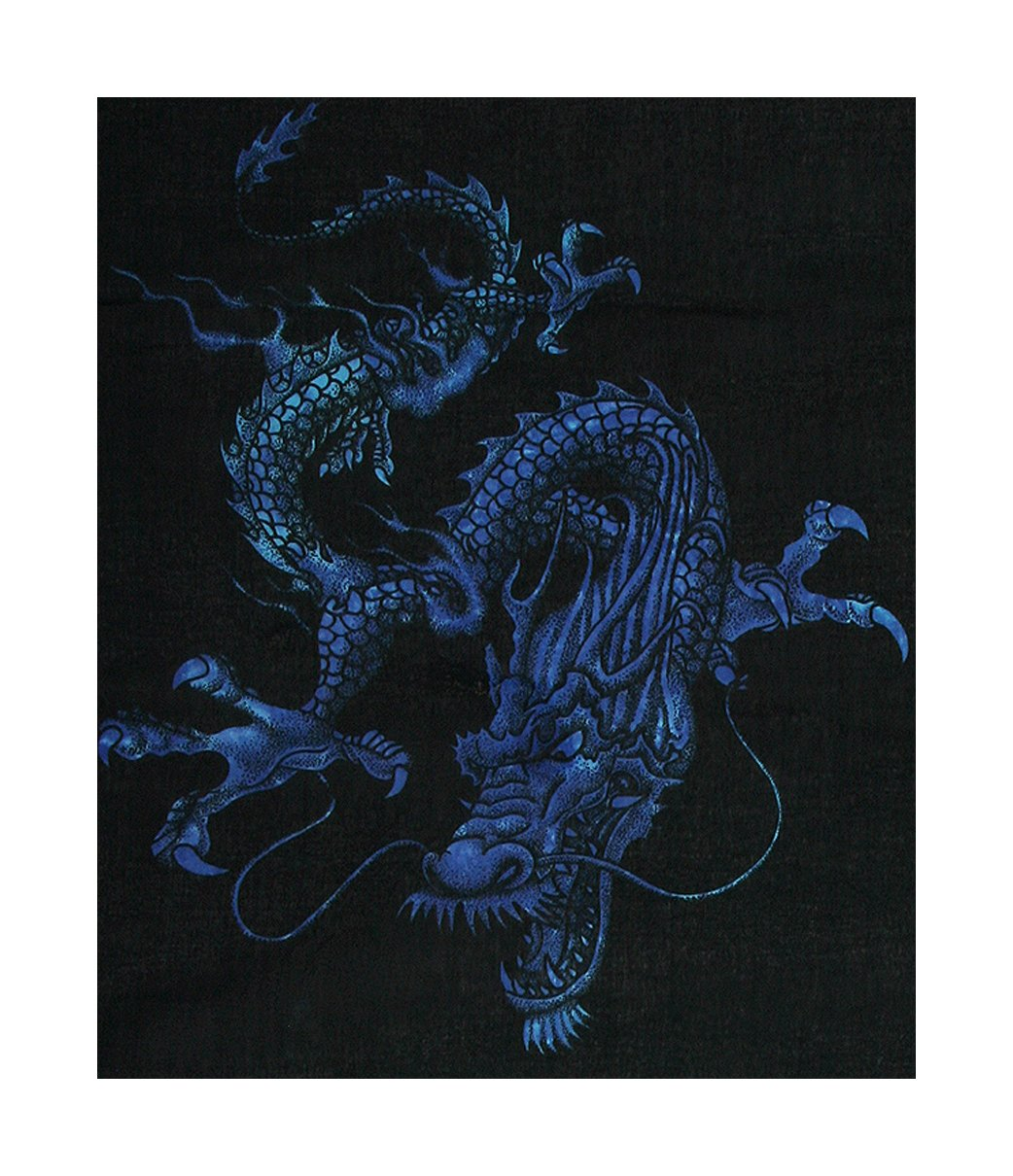 Sarong - Blue on Black, Dragons, Less Than Perfect, Reduced