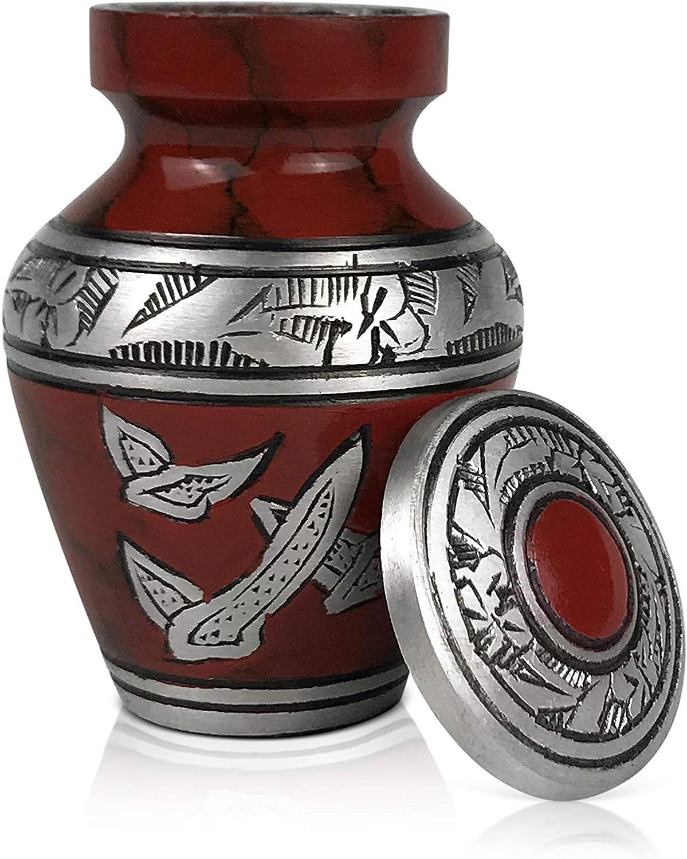 Affordable Funeral Keepsake Urn for Ashes Handcrafted Urn SmartChoice Urn Keepsake for Ashes Cremation Urn Keepsake for Human Ashes Royal Red w//t Doves