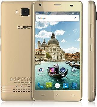 CUBOT Echo 3G Smartphone Libre Android 6.0,2 GB RAM +16 GB Rom,5,0 Pulgadas (12,7 cm) de Pantalla Táctil HD, Batería 3000mAh, Bual SIM, 5MP Frontal de la Cámara / 13MP Cámara),Color Dorado: