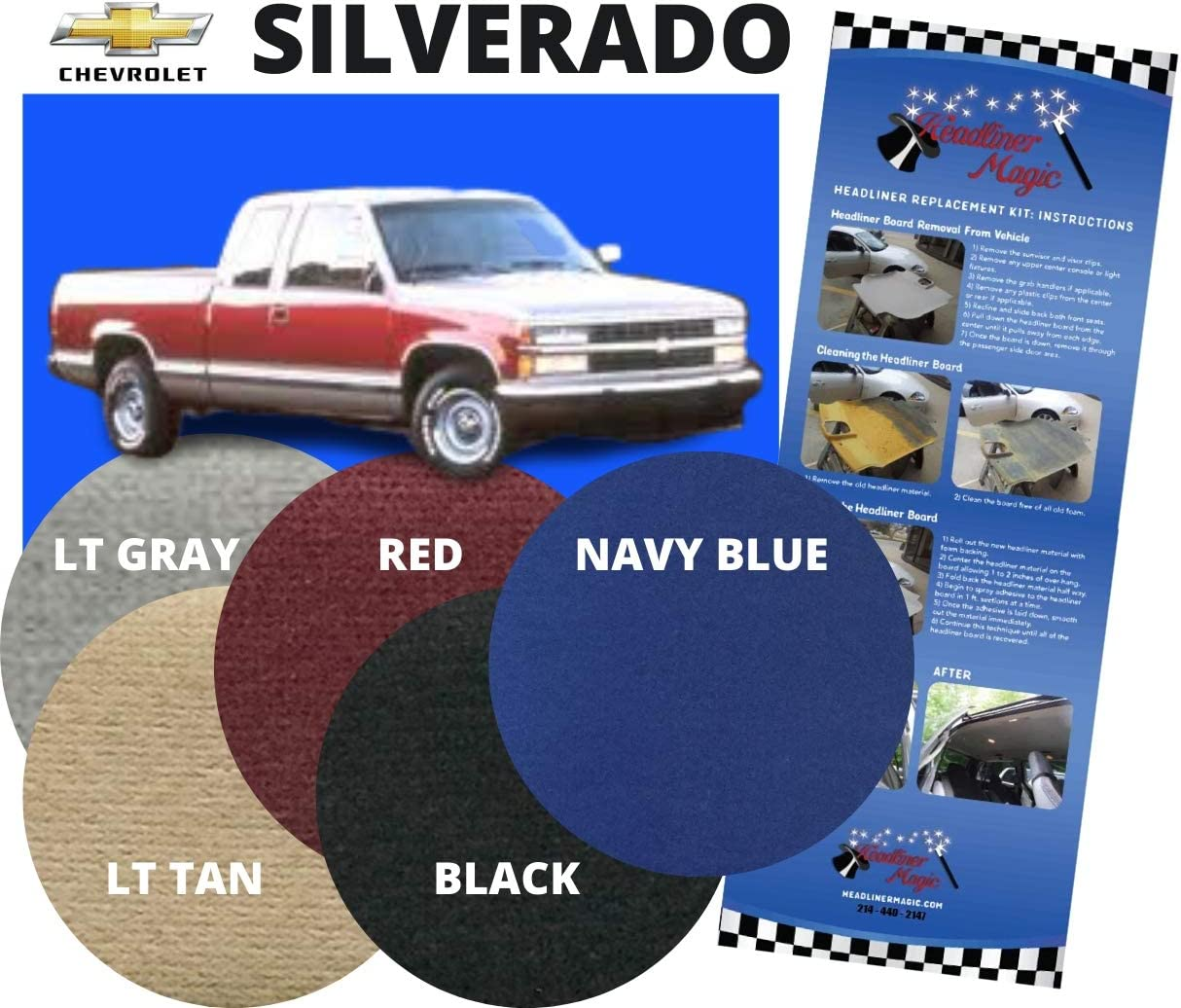 Black Chevy Silverado//GMC Sierra Quad//Crew CAB Headliner Repair Fabric