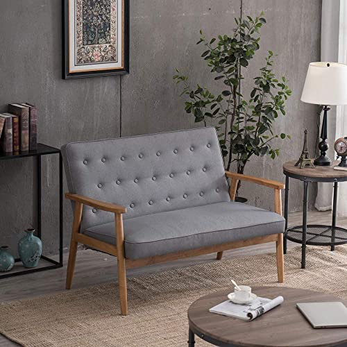 Binrrio Retro Lounge Wooden Arm Chair,Mid-Century PU Leather Upholstered Accent Wooden Arm Chair,Solid Wood Lounge Chair Sofa Seat or Living Room Bedroom Apartment Grey