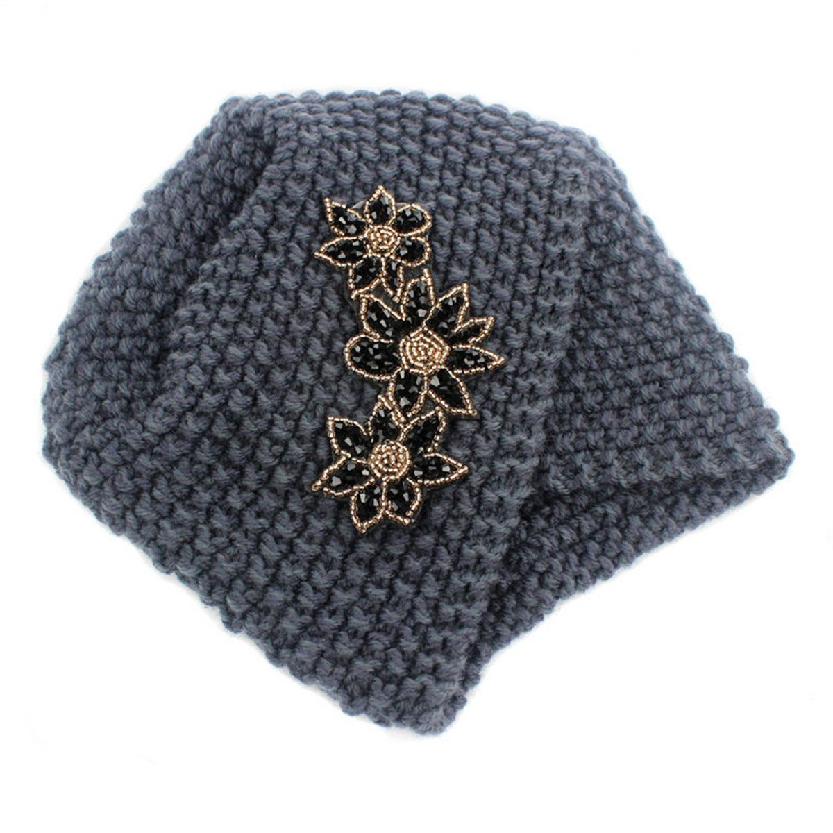 Qhome Ladies Winter Warm Turban Soft Knit Headband Beanie Crochet Headwrap Women Hat Cap with Beaded Jewelry