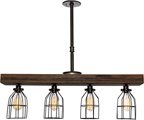 West Ninth Vintage Pendant Farmhouse Chandelier Fixture – Fayette Wood Beam Light – Rustic Lighting for Kitchen Island Lighting, Dining Room, Bar – Jacobean Stain