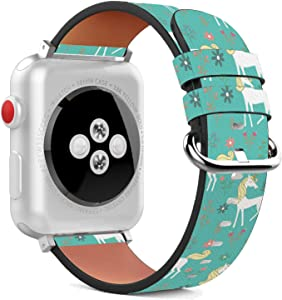 Compatible with Apple Watch - 38mm / 40mm (Serie 6/5/4/3/2/1) Leather Wristband Bracelet with Stainless Steel Clasp and Adapters - Unicorn On A Meadow