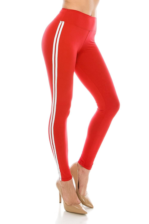 ALWAYS Women Solid Basic Soft Stretch Striped Leggings